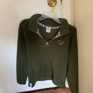 Victoria Secret PINK Sherpa half zip pullover.